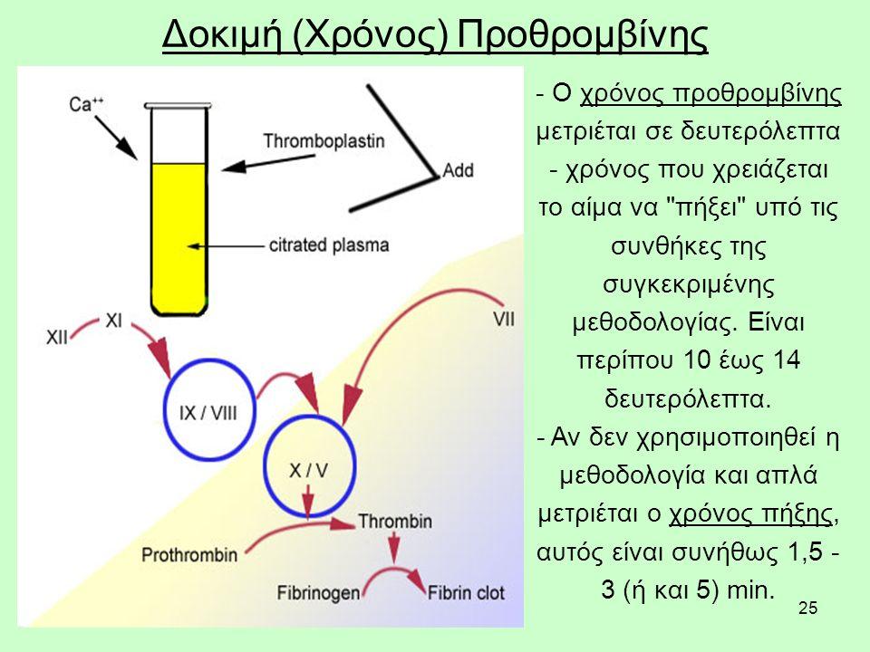 25 Δοκιμή (Χρόνος) Προθρομβίνης - Ο χρόνος προθρομβίνης μετριέται σε δευτερόλεπτα - χρόνος που χρειάζεται το αίμα να πήξει υπό τις συνθήκες της συγκεκριμένης μεθοδολογίας.