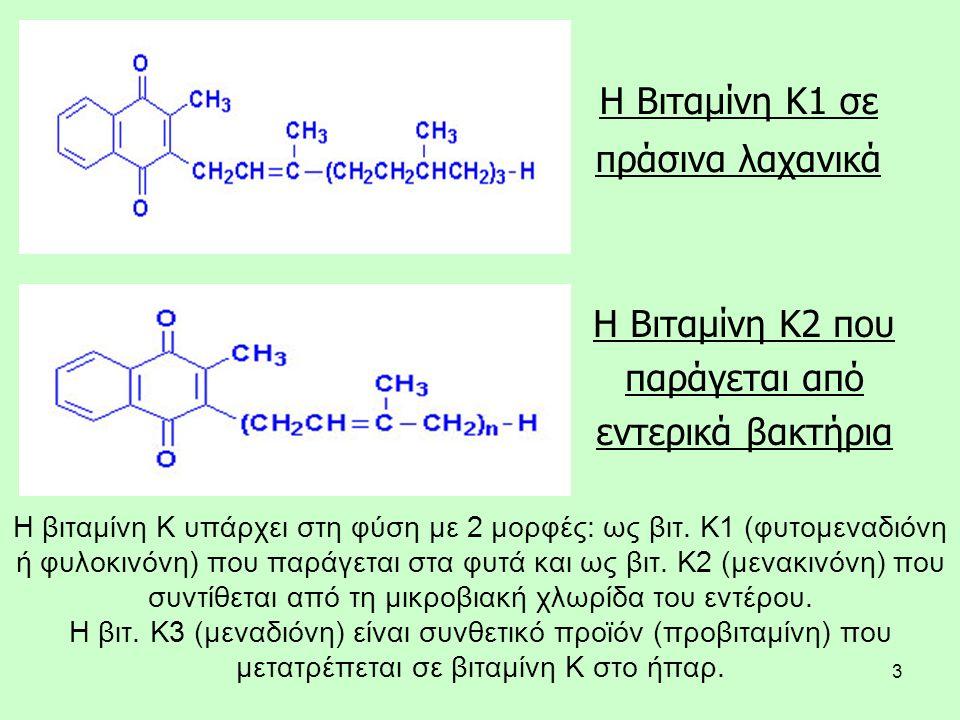 3 Η Βιταμίνη Κ1 σε πράσινα λαχανικά Η Βιταμίνη Κ2 που παράγεται από εντερικά βακτήρια H βιταμίνη K υπάρχει στη φύση με 2 μορφές: ως βιτ. K1 (φυτομεναδ