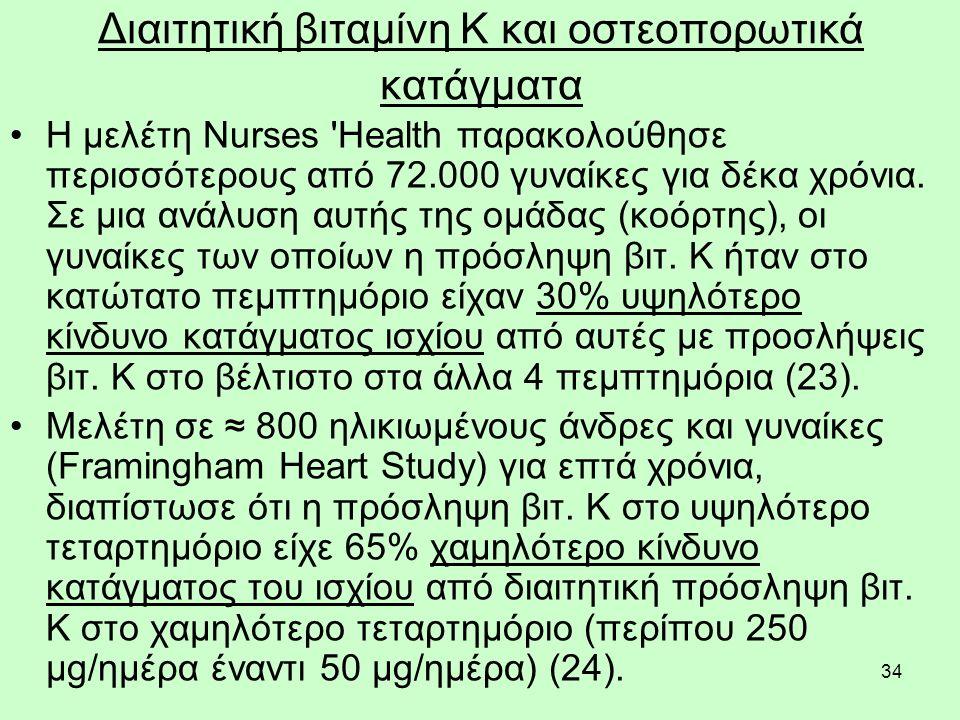 34 Διαιτητική βιταμίνη Κ και οστεοπορωτικά κατάγματα Η μελέτη Nurses Health παρακολούθησε περισσότερους από 72.000 γυναίκες για δέκα χρόνια.