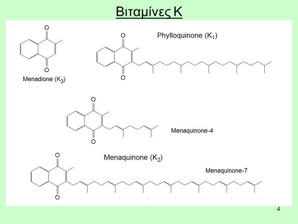 55 Συμπληρώματα βιταμίνης Κ, ασφάλεια & τοξικότητα Όταν η μεναδιόνη χορηγείται με ένεση έχει παρατηρηθεί να προκαλεί τοξικότητα στο συκώτι, ίκτερο και αιμολυτική αναιμία (λόγω της ρήξης των ερυθρών αιμοσφαιρίων του αίματος) σε βρέφη.