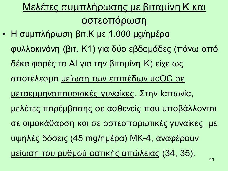 41 Μελέτες συμπλήρωσης με βιταμίνη Κ και οστεοπόρωση Η συμπλήρωση βιτ.Κ με 1.000 μg/ημέρα φυλλοκινόνη (βιτ. Κ1) για δύο εβδομάδες (πάνω από δέκα φορές