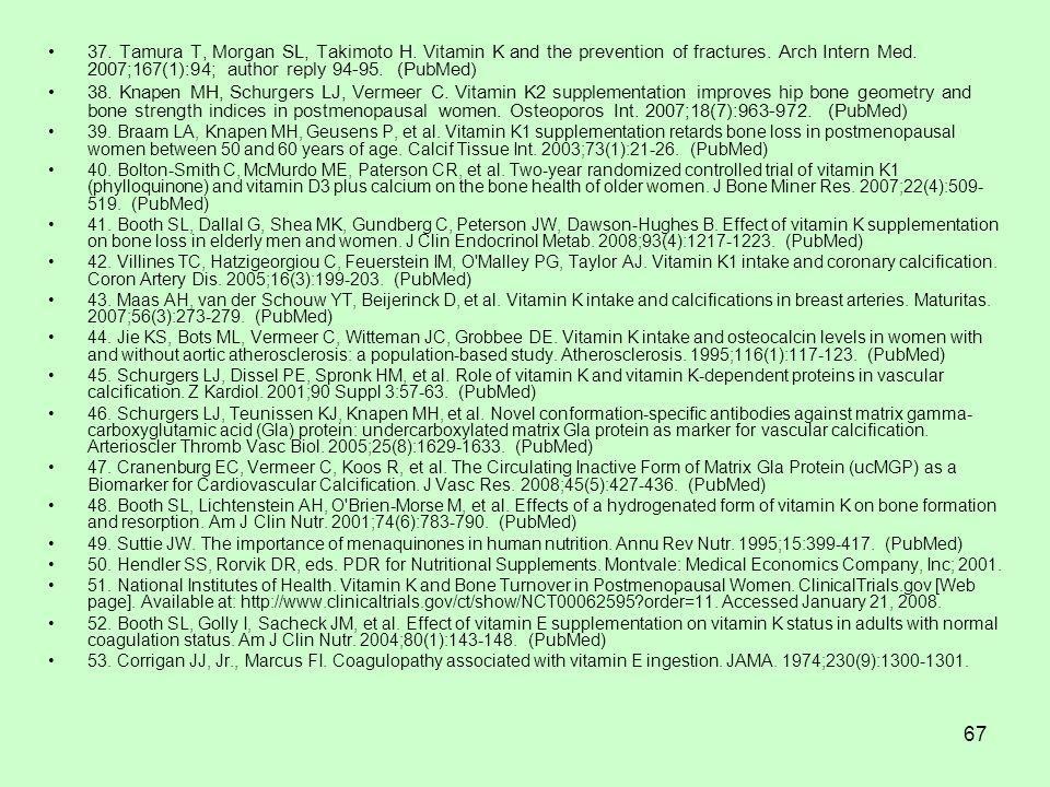 67 37. Tamura T, Morgan SL, Takimoto H. Vitamin K and the prevention of fractures.