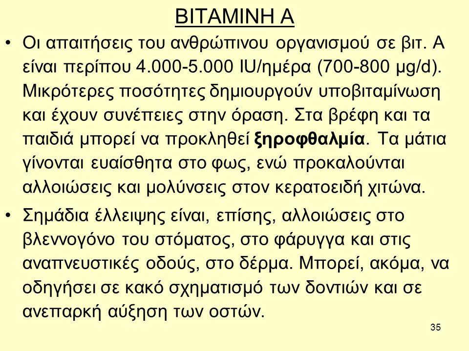 35 BITAMINH A Οι απαιτήσεις του ανθρώπινου οργανισμού σε βιτ.