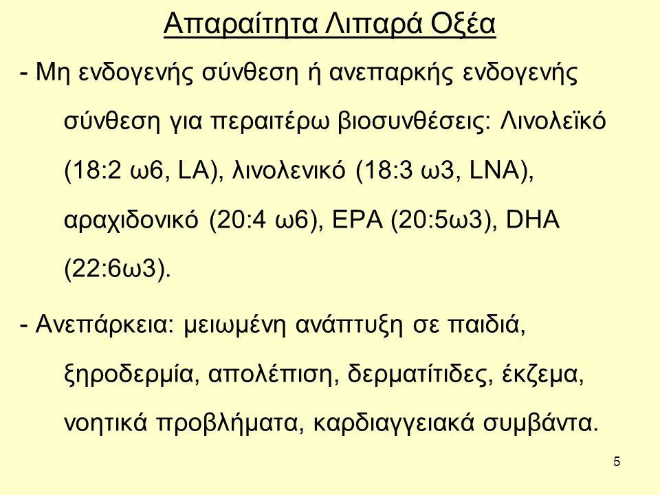 6 Απαραίτητα Λιπαρά Οξέα - Λειτουργίες: 1.