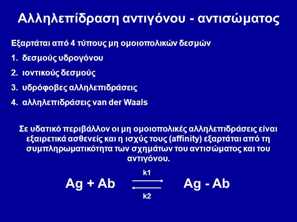 Αλληλεπίδραση αντιγόνου - αντισώματος Εξαρτάται από 4 τύπους μη ομοιοπολικών δεσμών 1.δεσμούς υδρογόνου 2.ιοντικούς δεσμούς 3.υδρόφοβες αλληλεπιδράσεις 4.αλληλεπιδράσεις van der Waals Σε υδατικό περιβάλλον οι μη ομοιοπολικές αλληλεπιδράσεις είναι εξαιρετικά ασθενείς και η ισχύς τους (affinity) εξαρτάται από τη συμπληρωματικότητα των σχημάτων του αντισώματος και του αντιγόνου.
