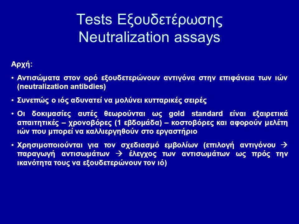 Tests Εξουδετέρωσης Neutralization assays Αρχή: Αντισώματα στον ορό εξουδετερώνουν αντιγόνα στην επιφάνεια των ιών (neutralization antibdies) Συνεπώς ο ιός αδυνατεί να μολύνει κυτταρικές σειρές Οι δοκιμασίες αυτές θεωρούνται ως gold standard είναι εξαιρετικά απαιτητικές – χρονοβόρες (1 εβδομάδα) – κοστοβόρες και αφορούν μελέτη ιών που μπορεί να καλλιεργηθούν στο εργαστήριο Χρησιμοποιούνται για τον σχεδιασμό εμβολίων (επιλογή αντιγόνου  παραγωγή αντισωμάτων  έλεγχος των αντισωμάτων ως πρός την ικανότητα τους να εξουδετερώνουν τον ιό)