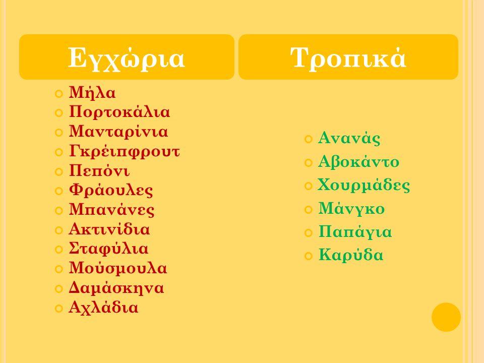 Μήλα Πορτοκάλια Μανταρίνια Γκρέιπφρουτ Πεπόνι Φράουλες Μπανάνες Ακτινίδια Σταφύλια Μούσμουλα Δαμάσκηνα Αχλάδια Ανανάς Αβοκάντο Χουρμάδες Μάνγκο Παπάγι