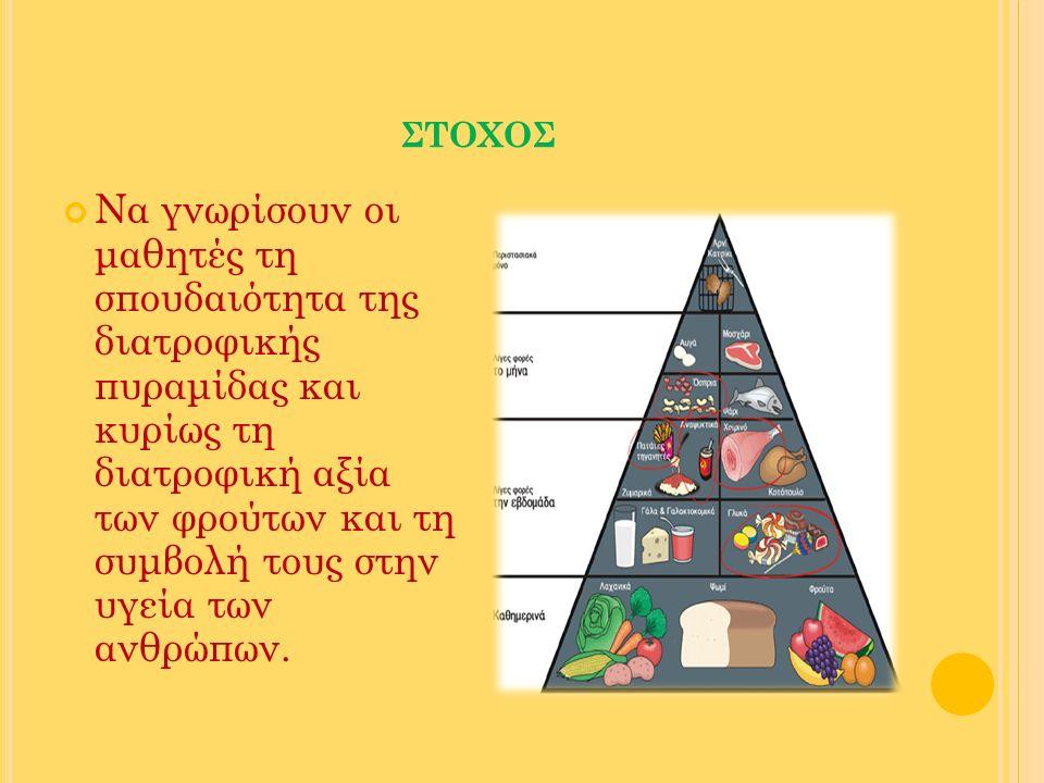 ΣΤΟΧΟΣ Να γνωρίσουν οι μαθητές τη σπουδαιότητα της διατροφικής πυραμίδας και κυρίως τη διατροφική αξία των φρούτων και τη συμβολή τους στην υγεία των