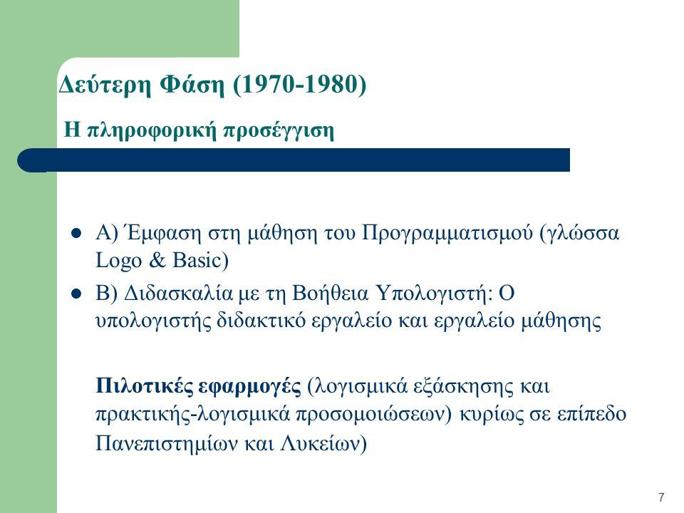 Βιβλιογραφία Beck, J.(1997). Teacher Education and IT: a national perspective.