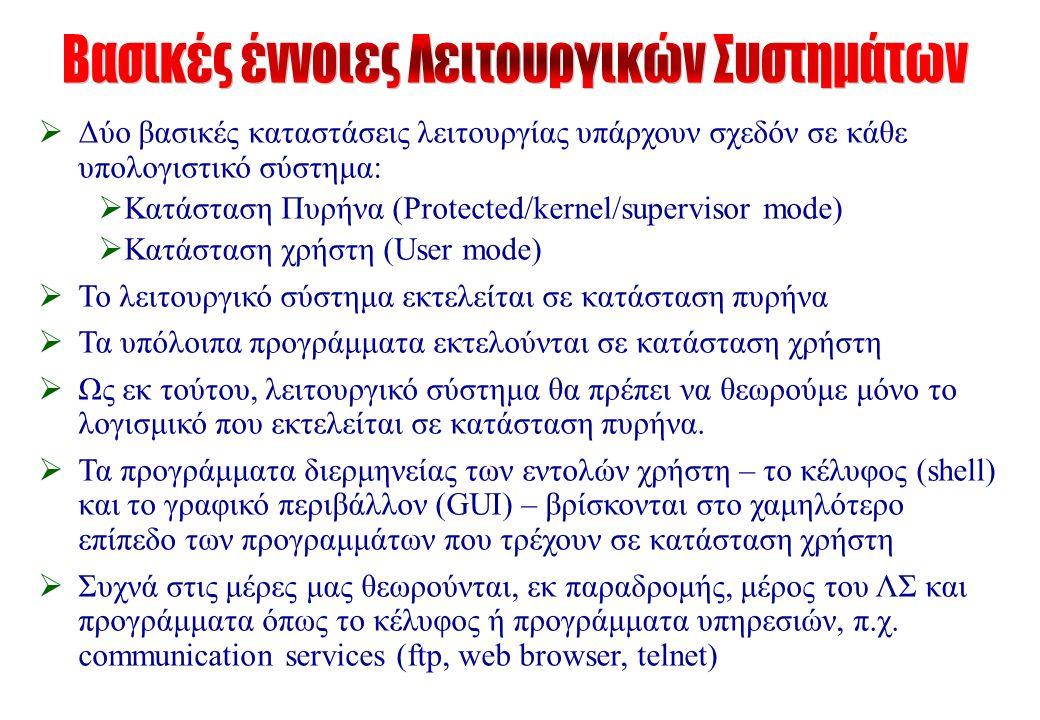  Δύο βασικές καταστάσεις λειτουργίας υπάρχουν σχεδόν σε κάθε υπολογιστικό σύστημα:  Κατάσταση Πυρήνα (Protected/kernel/supervisor mode)  Κατάσταση χρήστη (User mode)  Το λειτουργικό σύστημα εκτελείται σε κατάσταση πυρήνα  Τα υπόλοιπα προγράμματα εκτελούνται σε κατάσταση χρήστη  Ως εκ τούτου, λειτουργικό σύστημα θα πρέπει να θεωρούμε μόνο το λογισμικό που εκτελείται σε κατάσταση πυρήνα.
