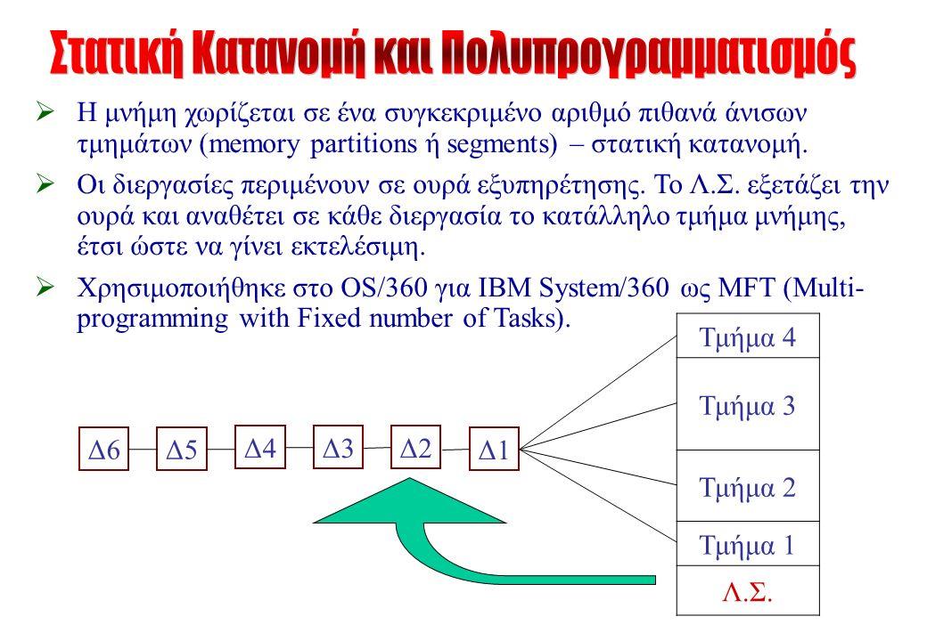  Η μνήμη χωρίζεται σε ένα συγκεκριμένο αριθμό πιθανά άνισων τμημάτων (memory partitions ή segments) – στατική κατανομή.