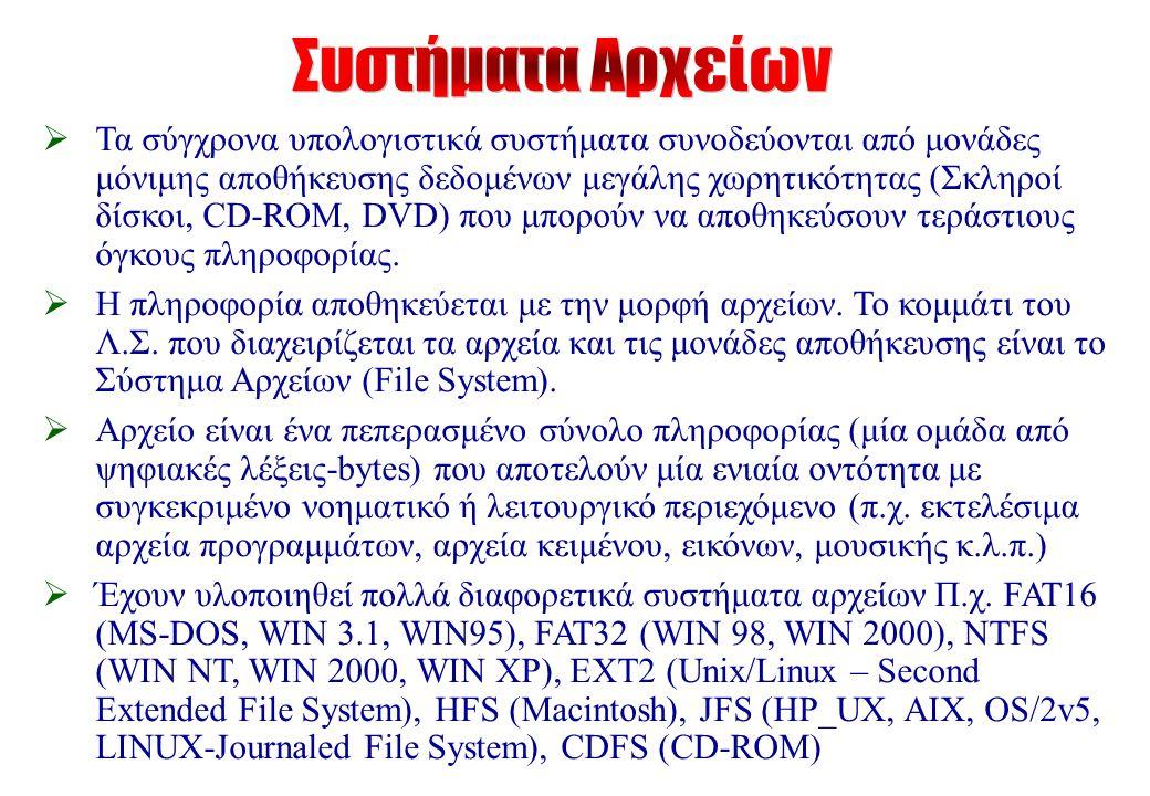  Τα σύγχρονα υπολογιστικά συστήματα συνοδεύονται από μονάδες μόνιμης αποθήκευσης δεδομένων μεγάλης χωρητικότητας (Σκληροί δίσκοι, CD-ROM, DVD) που μπορούν να αποθηκεύσουν τεράστιους όγκους πληροφορίας.
