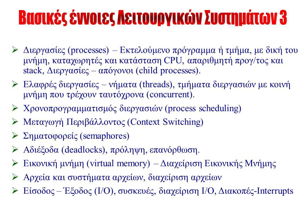  Διεργασίες (processes) – Εκτελούμενο πρόγραμμα ή τμήμα, με δική του μνήμη, καταχωρητές και κατάσταση CPU, απαριθμητή προγ/τος και stack, Διεργασίες – απόγονοι (child processes).