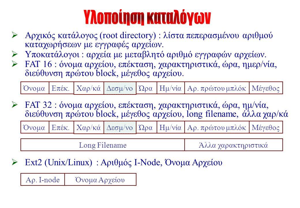  Αρχικός κατάλογος (root directory) : λίστα πεπερασμένου αριθμού καταχωρήσεων με εγγραφές αρχείων.
