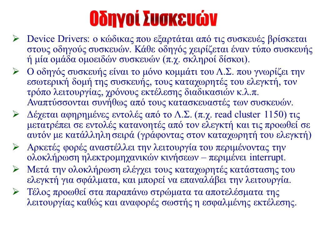  Device Drivers: ο κώδικας που εξαρτάται από τις συσκευές βρίσκεται στους οδηγούς συσκευών.