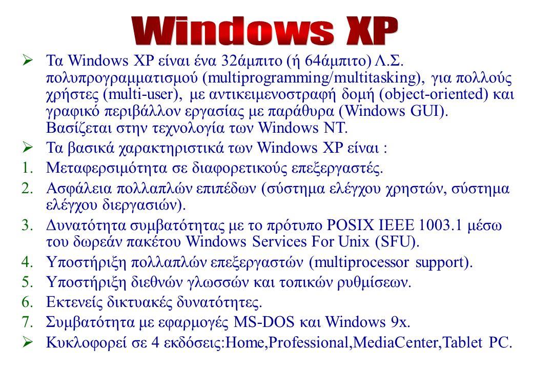  Τα Windows XP είναι ένα 32άμπιτο (ή 64άμπιτο) Λ.Σ.