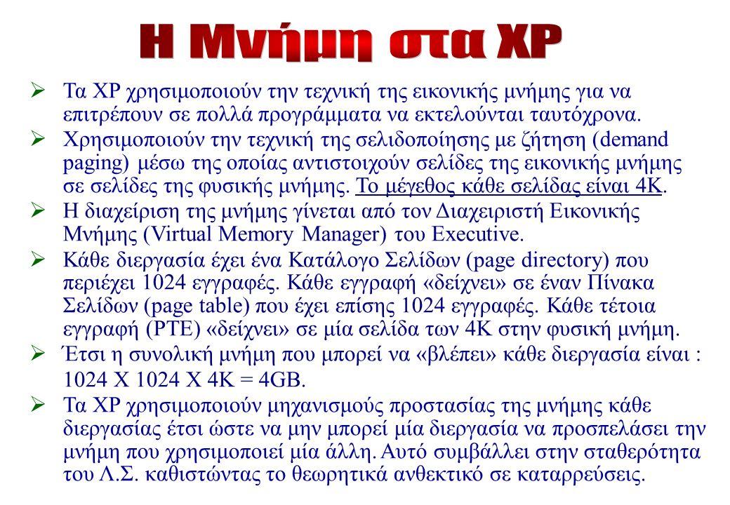 Τα XP χρησιμοποιούν την τεχνική της εικονικής μνήμης για να επιτρέπουν σε πολλά προγράμματα να εκτελούνται ταυτόχρονα.