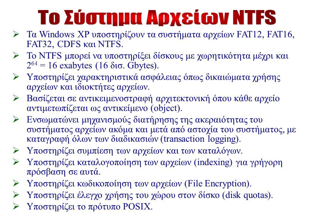  Τα Windows XP υποστηρίζουν τα συστήματα αρχείων FAT12, FAT16, FAT32, CDFS και NTFS.