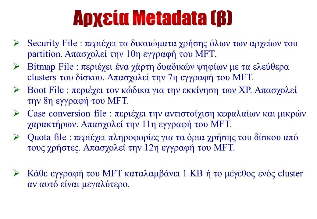  Security File : περιέχει τα δικαιώματα χρήσης όλων των αρχείων του partition.