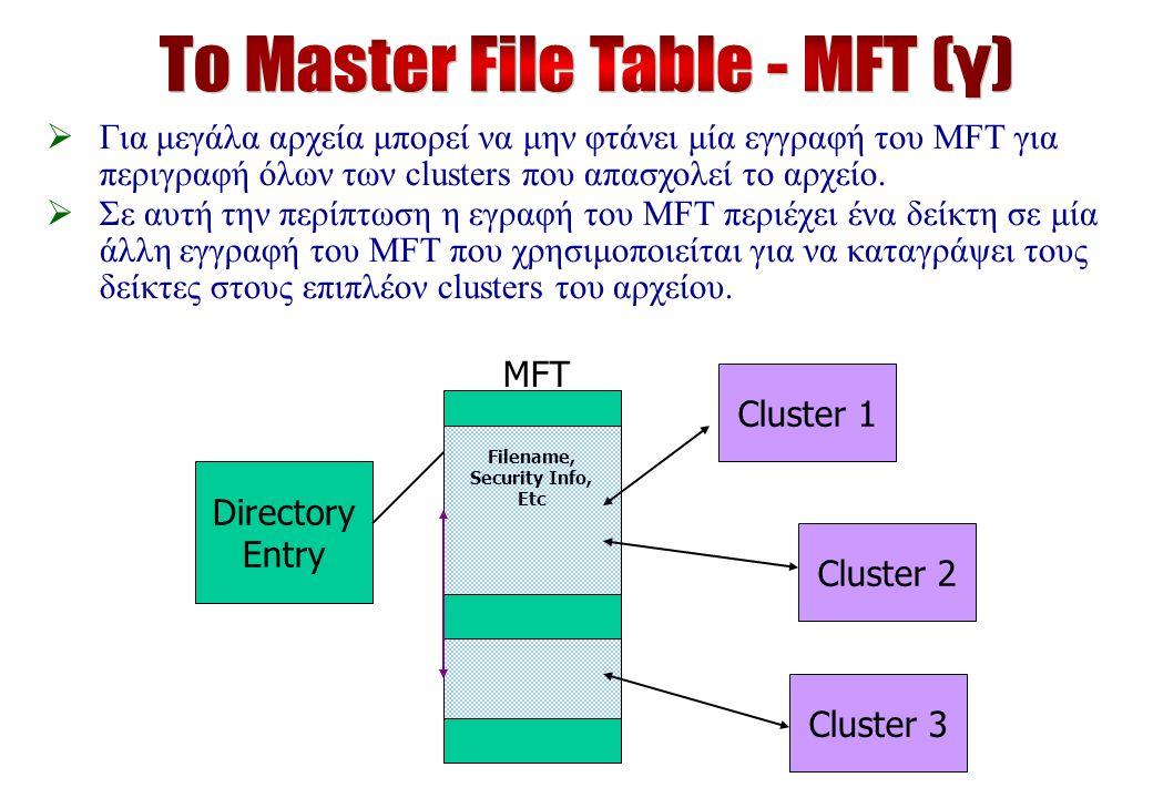 MFT Directory Entry Filename, Security Info, Etc Cluster 1Cluster 2 Cluster 3  Για μεγάλα αρχεία μπορεί να μην φτάνει μία εγγραφή του MFT για περιγραφή όλων των clusters που απασχολεί το αρχείο.