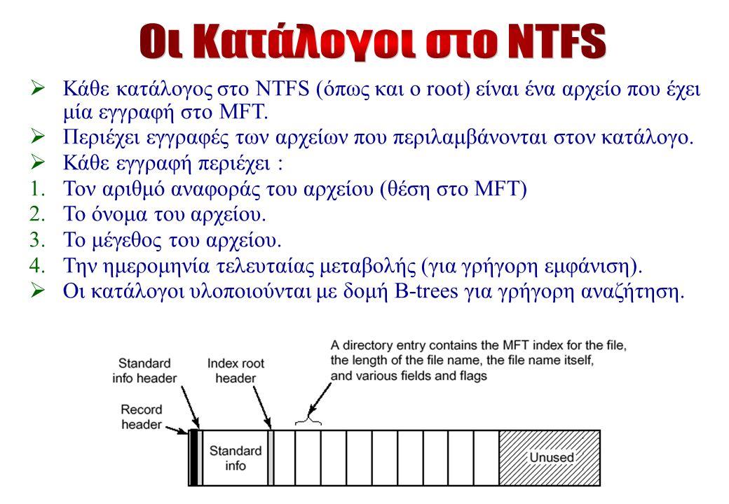  Κάθε κατάλογος στο NTFS (όπως και ο root) είναι ένα αρχείο που έχει μία εγγραφή στο MFT.