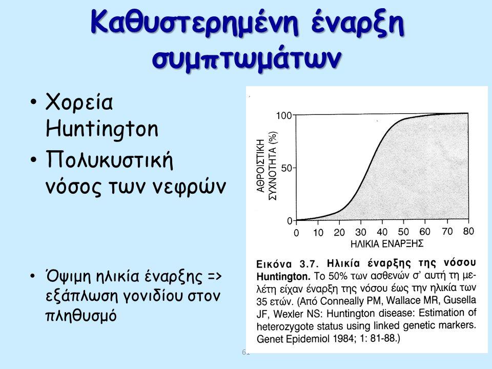 60 ΓΕΝΕΤΙΚΗ ΑΣΤΑΘΕΙΑ ΚΑΙ ΕΠΙΣΠΕΥΣΗ = πιο πρώιμη ηλικία έναρξης και μεγαλύτερη σοβαρότητα νόσου σε διαδοχικές γενιές Μυοτονική δυστροφία- γονίδιο μυοτο