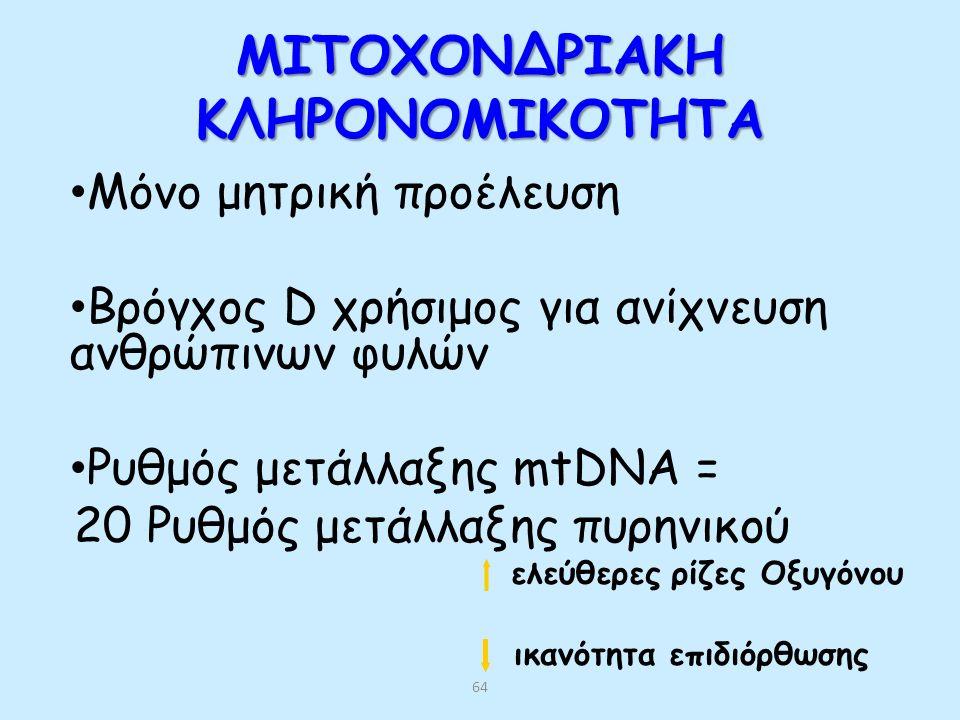 63 ΟΜΟΖΥΓΩΤΕΣ ΓΙΑ ΕΠΙΚΡΑΤΕΙΣ ΝΟΣΟΥΣ Εντονότερα συμπτώματα Οικογενής Υπερχολεστερολαιμία, Σύνδρομο Marfan Σπανιότερη εμφάνιση Συνηθέστερα πεθαίνουν Σε κάποιες ασθένειες οι ομοζυγώτες δεν εμφανίζουν βαρύτερα συμπτώματα (χορεία Huntington)