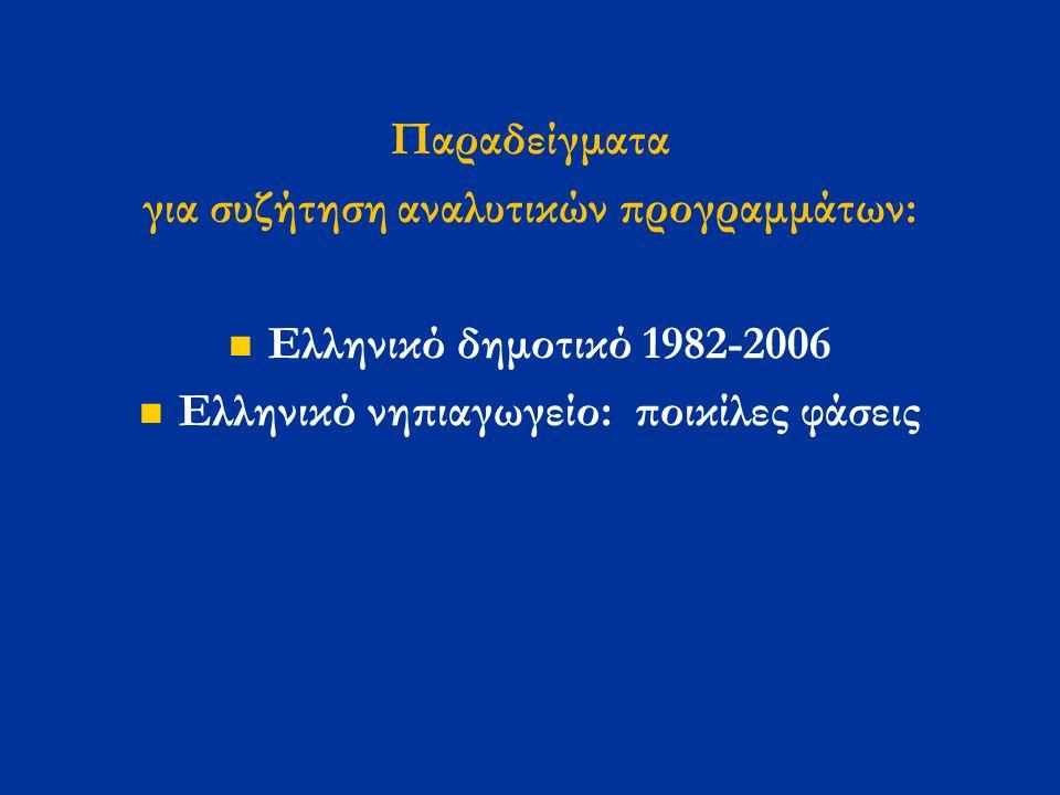 Παραδείγματα για συζήτηση αναλυτικών προγραμμάτων: Ελληνικό δημοτικό 1982-2006 Ελληνικό νηπιαγωγείο: ποικίλες φάσεις