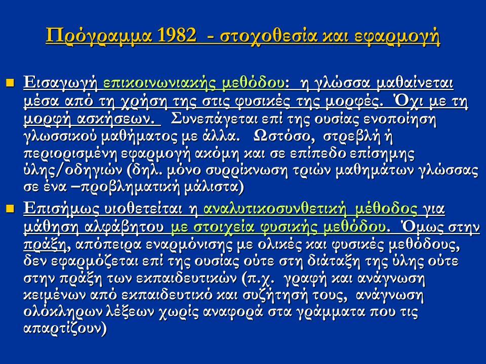 Πρόγραμμα 1982 - στοχοθεσία και εφαρμογή Εισαγωγή επικοινωνιακής μεθόδου: η γλώσσα μαθαίνεται μέσα από τη χρήση της στις φυσικές της μορφές.