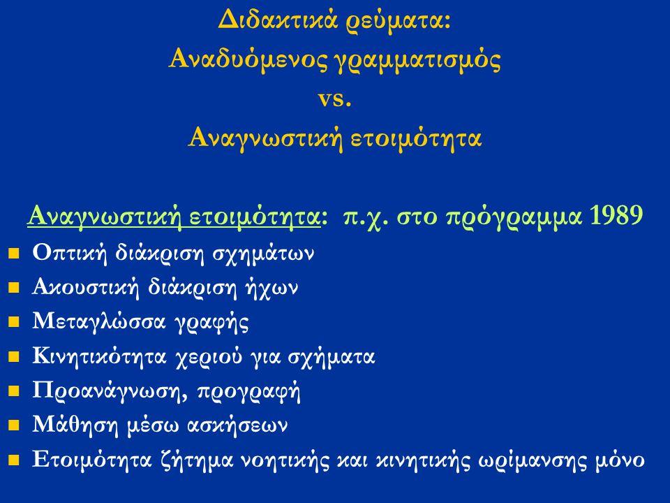Διδακτικά ρεύματα: Αναδυόμενος γραμματισμός vs. Αναγνωστική ετοιμότητα Αναγνωστική ετοιμότητα: π.χ.
