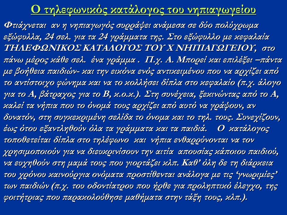 Ο τηλεφωνικός κατάλογος του νηπιαγωγείου Φτιάχνεται αν η νηπιαγωγός συρράψει ανάμεσα σε δύο πολύχρωμα εξώφυλλα, 24 σελ.