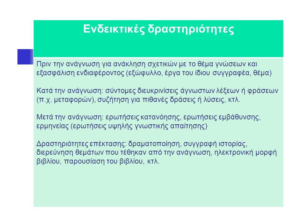 Ενδεικτικές δραστηριότητες Πριν την ανάγνωση για ανάκληση σχετικών με το θέμα γνώσεων και εξασφάλιση ενδιαφέροντος (εξώφυλλο, έργα του ίδιου συγγραφέα