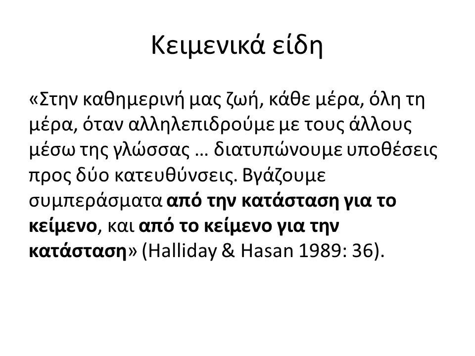 Κειμενικά είδη «Στην καθημερινή μας ζωή, κάθε μέρα, όλη τη μέρα, όταν αλληλεπιδρούμε με τους άλλους μέσω της γλώσσας … διατυπώνουμε υποθέσεις προς δύο