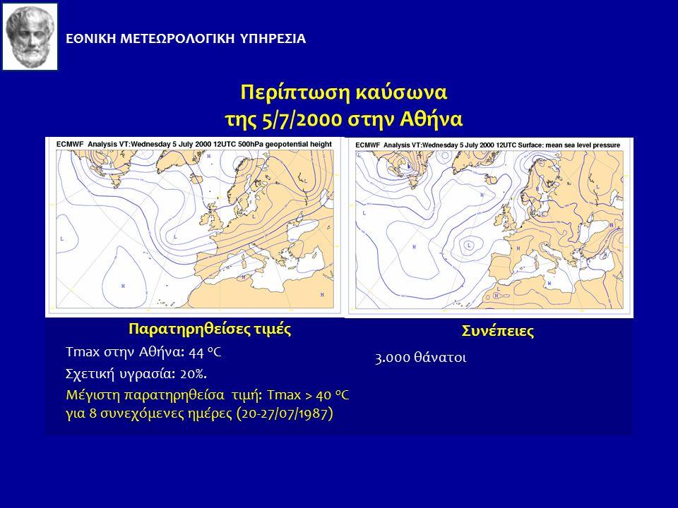Καύσωνες στην Ελλάδα Περιοχές: Σε όλη τη χώρα Συνοπτική κατάσταση καιρού: Θερμική μεταφορά μεγάλης κλίμακας από τη Νότιο Αφρική σε συνδυασμό με μεταφορά αρνητικού στροβιλισμού στο επίπεδο των 500 hPa.
