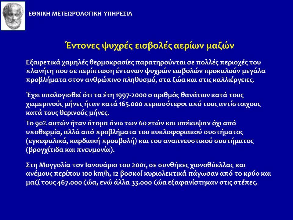 Παρατηρηθείσες τιμές Tmax στην Αθήνα: 44 o C Σχετική υγρασία: 20%. Μέγιστη παρατηρηθείσα τιμή: Tmax > 40 o C για 8 συνεχόμενες ημέρες (20-27/07/1987)