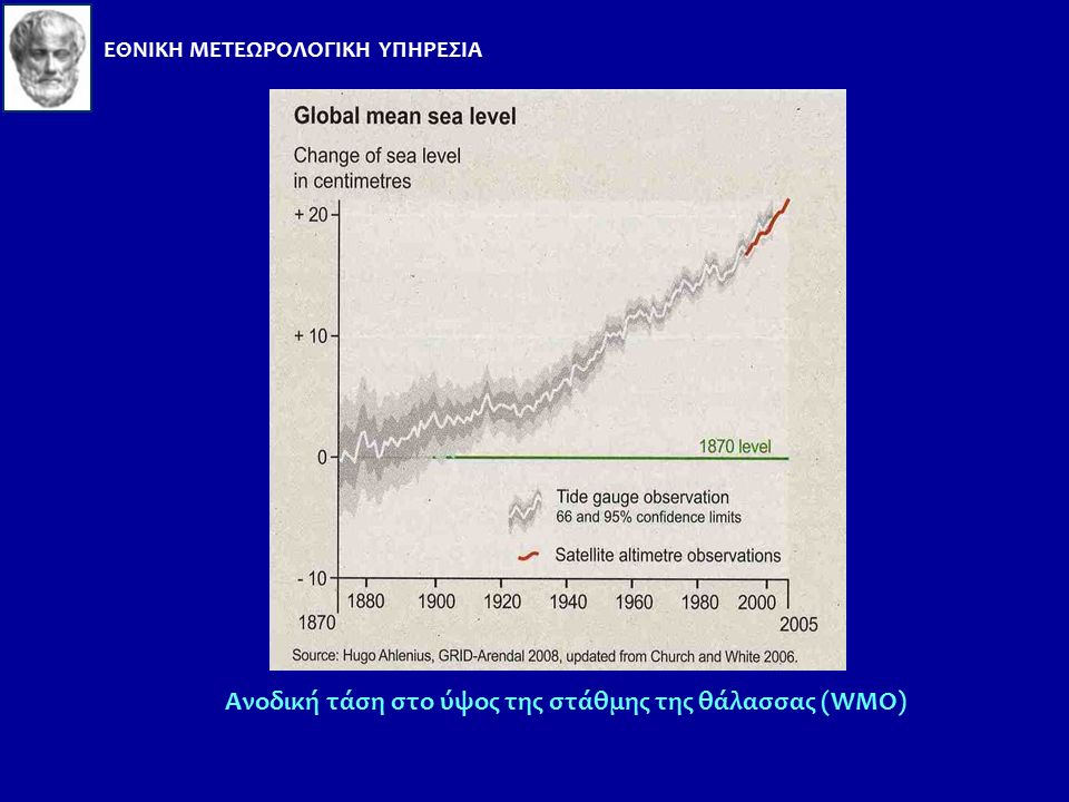 Ανοδος της στάθμης της θάλασσας Η στάθμη της θάλασσας αυξάνεται σταθερά (από το 1961 κατά μέσο όρο 1,8 mm ανά έτος, ενώ από το 1993 κατά 3,1 mm ανά έτ