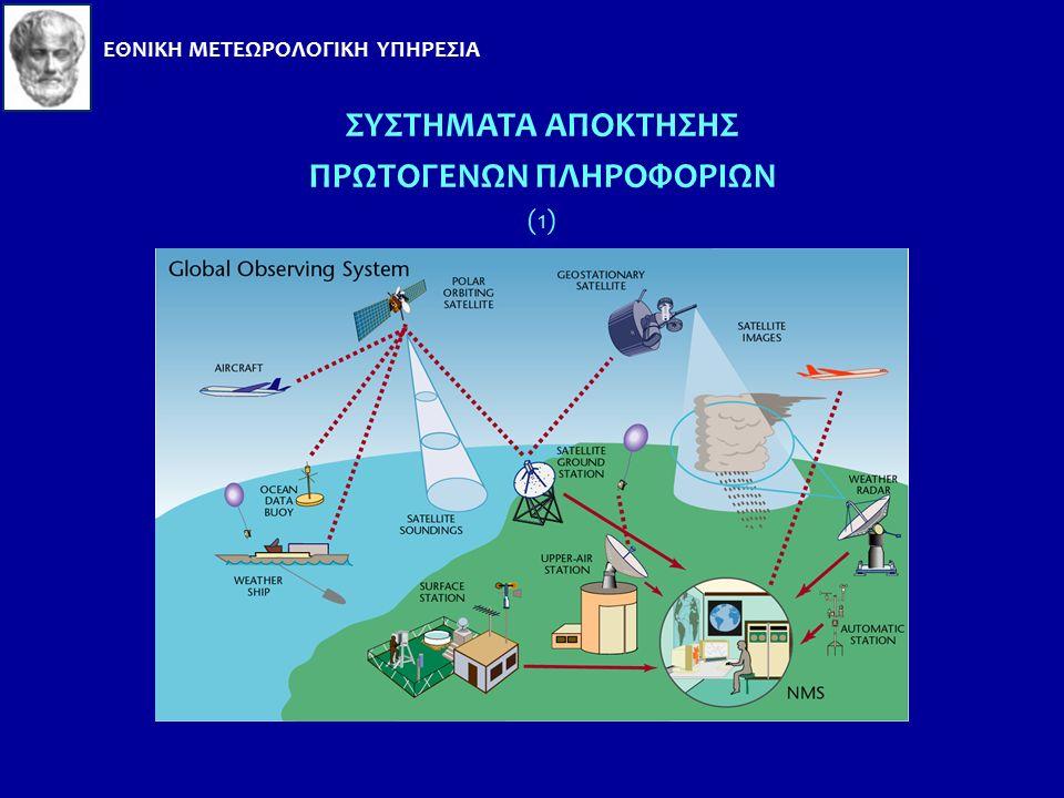 ΟΡΓΑΝΩΤΙΚΗ ΔΟΜΗ του WMO ΜΕΤΑΔΟΣΗΣ ΠΡΩΤΟΓΕΝΩΝ ΠΛΗΡΟΦΟΡΙΩΝ (1) Το Global Observing System (GOS) του WMO έχει την ευθύνη διακίνησης όλων των μετεωρολογικών Παρατηρήσεων και συγκέντρωσης όλων των πληροφοριών σχετικών με τον καιρό, το κλίμα και το νερό.