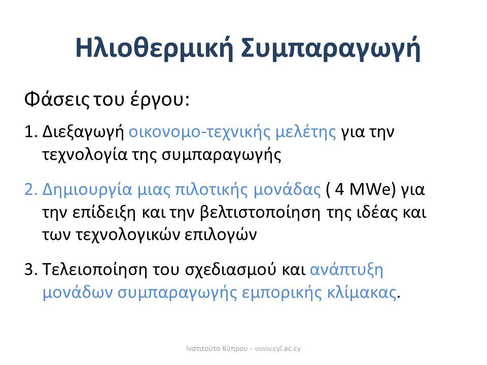 Φάσεις του έργου: 1.Διεξαγωγή οικονομο-τεχνικής μελέτης για την τεχνολογία της συμπαραγωγής 2.Δημιουργία μιας πιλοτικής μονάδας ( 4 MWe) για την επίδειξη και την βελτιστοποίηση της ιδέας και των τεχνολογικών επιλογών 3.Τελειοποίηση του σχεδιασμού και ανάπτυξη μονάδων συμπαραγωγής εμπορικής κλίμακας.