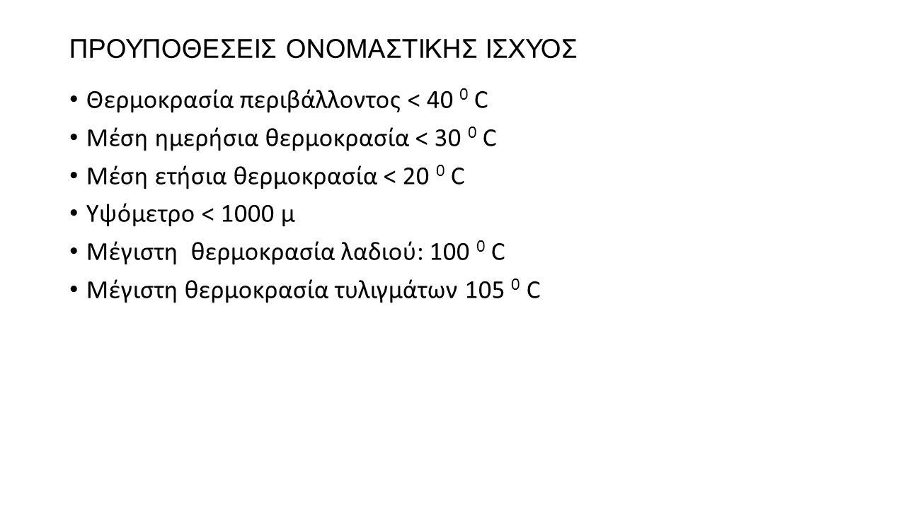 ΠΡΟΥΠΟΘΕΣΕΙΣ ΟΝΟΜΑΣΤΙΚΗΣ ΙΣΧΥΟΣ Θερμοκρασία περιβάλλοντος < 40 0 C Μέση ημερήσια θερμοκρασία < 30 0 C Μέση ετήσια θερμοκρασία < 20 0 C Υψόμετρο < 1000