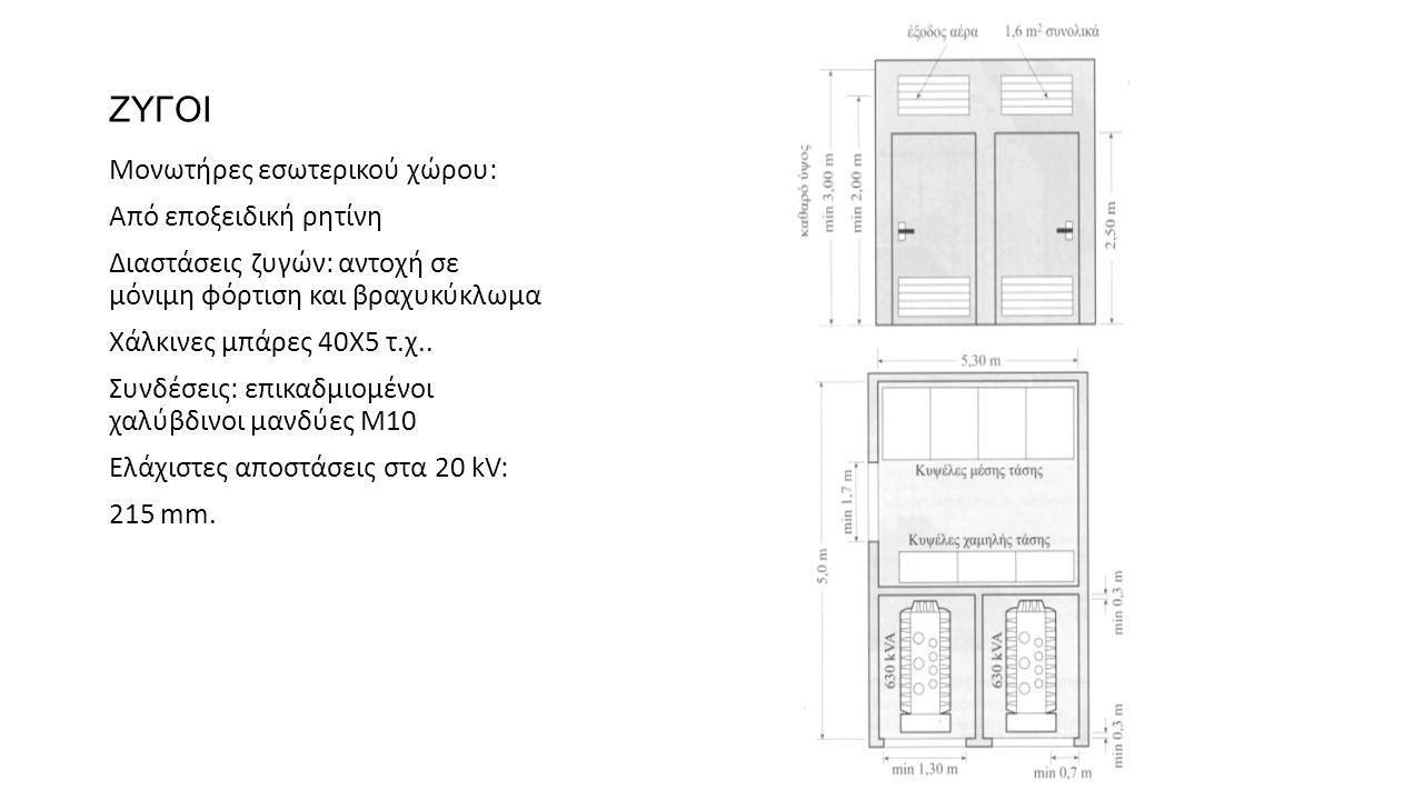 ΖΥΓΟΙ Μονωτήρες εσωτερικού χώρου: Από εποξειδική ρητίνη Διαστάσεις ζυγών: αντοχή σε μόνιμη φόρτιση και βραχυκύκλωμα Χάλκινες μπάρες 40Χ5 τ.χ.. Συνδέσε