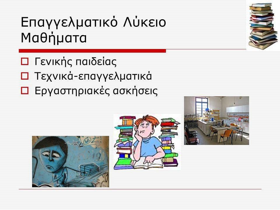 Γ΄ τάξη ΕΠΑΛ α/αΜαθήματα Γενικής ΠαιδείαςΏρες 1.Ελληνική ΓλώσσαΝέα Ελληνική Γλώσσα2 Λογοτεχνία1 2.ΜαθηματικάΆλγεβρα2 Γεωμετρία1 3.Φυσικές ΕπιστήμεςΦυσική2 Χημεία1 4.Εισαγωγή στις Αρχές της Επιστήμης των Η/Υ1 5.Ξένη Γλώσσα (Αγγλικά)1 6.Φυσική Αγωγή1 ΣΥΝΟΛΟ12