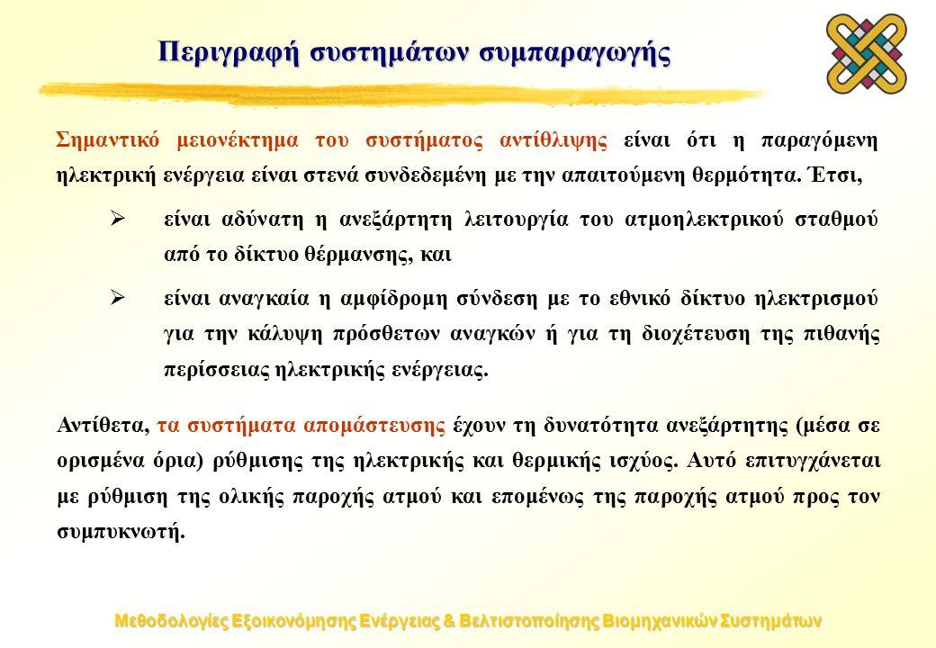 Μεθοδολογίες Εξοικονόμησης Ενέργειας & Βελτιστοποίησης Βιομηχανικών Συστημάτων Σημαντικό μειονέκτημα του συστήματος αντίθλιψης είναι ότι η παραγόμενη ηλεκτρική ενέργεια είναι στενά συνδεδεμένη με την απαιτούμενη θερμότητα.