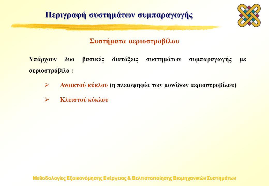 Μεθοδολογίες Εξοικονόμησης Ενέργειας & Βελτιστοποίησης Βιομηχανικών Συστημάτων Συστήματα αεριοστροβίλου Υπάρχουν δυο βασικές διατάξεις συστημάτων συμπαραγωγής με αεριοστρόβιλο :  Ανοικτού κύκλου (η πλειοψηφία των μονάδων αεριοστροβίλου)  Κλειστού κύκλου Περιγραφή συστημάτων συμπαραγωγής