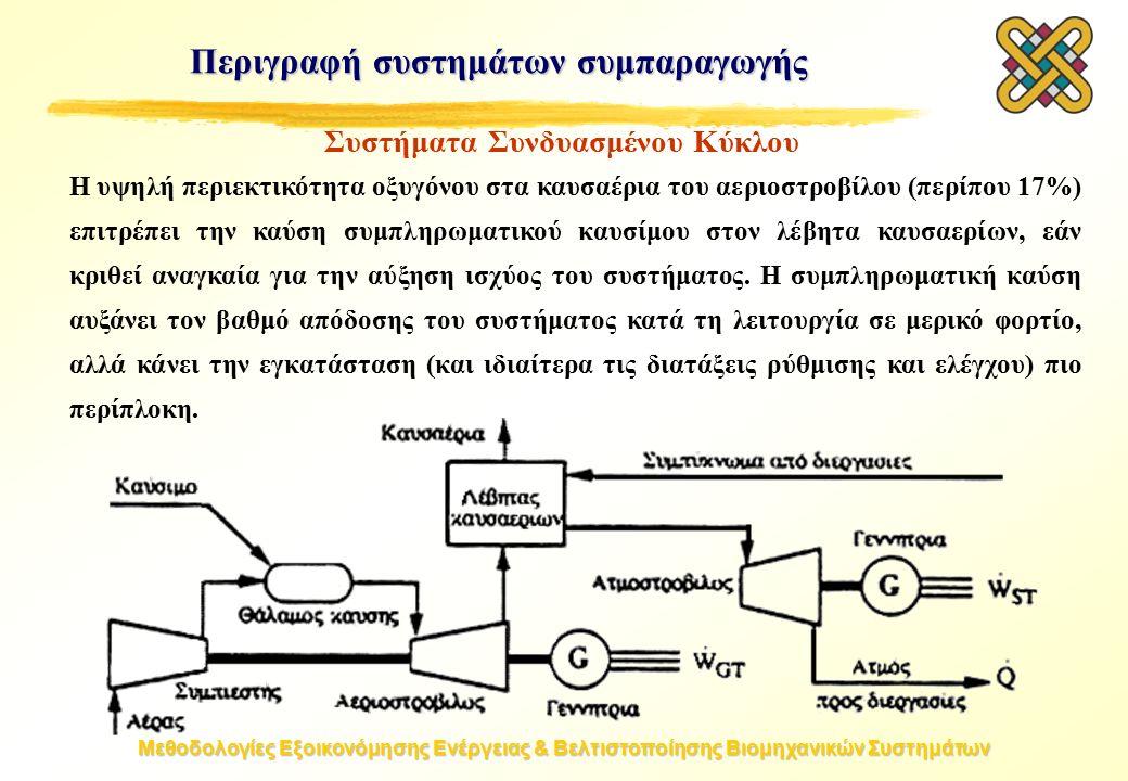 Μεθοδολογίες Εξοικονόμησης Ενέργειας & Βελτιστοποίησης Βιομηχανικών Συστημάτων Η υψηλή περιεκτικότητα οξυγόνου στα καυσαέρια του αεριοστροβίλου (περίπου 17%) επιτρέπει την καύση συμπληρωματικού καυσίμου στον λέβητα καυσαερίων, εάν κριθεί αναγκαία για την αύξηση ισχύος του συστήματος.