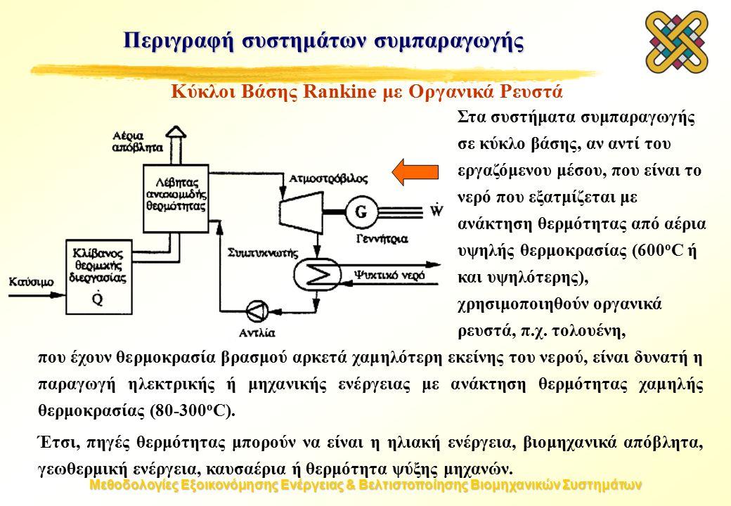 Μεθοδολογίες Εξοικονόμησης Ενέργειας & Βελτιστοποίησης Βιομηχανικών Συστημάτων Στα συστήματα συμπαραγωγής σε κύκλο βάσης, αν αντί του εργαζόμενου μέσου, που είναι το νερό που εξατμίζεται με ανάκτηση θερμότητας από αέρια υψηλής θερμοκρασίας (600 o C ή και υψηλότερης), χρησιμοποιηθούν οργανικά ρευστά, π.χ.