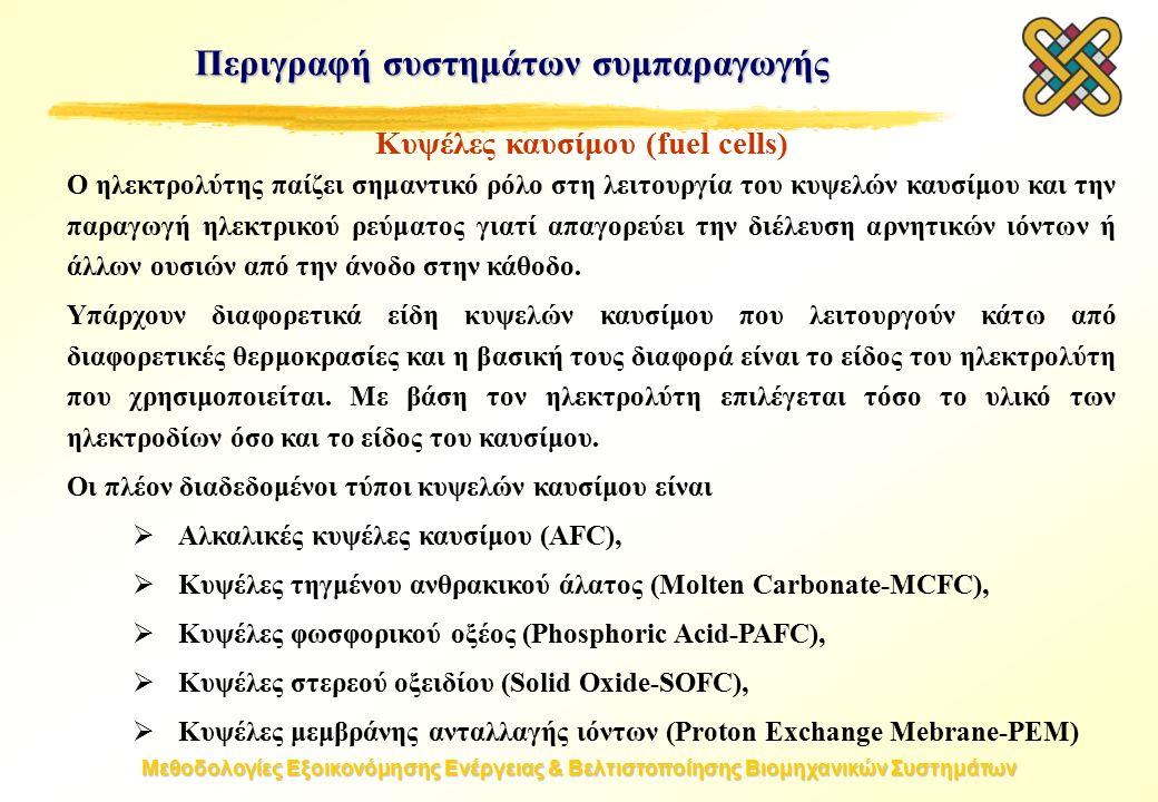 Μεθοδολογίες Εξοικονόμησης Ενέργειας & Βελτιστοποίησης Βιομηχανικών Συστημάτων Κυψέλες καυσίμου (fuel cells) Ο ηλεκτρολύτης παίζει σημαντικό ρόλο στη λειτουργία του κυψελών καυσίμου και την παραγωγή ηλεκτρικού ρεύματος γιατί απαγορεύει την διέλευση αρνητικών ιόντων ή άλλων ουσιών από την άνοδο στην κάθοδο.