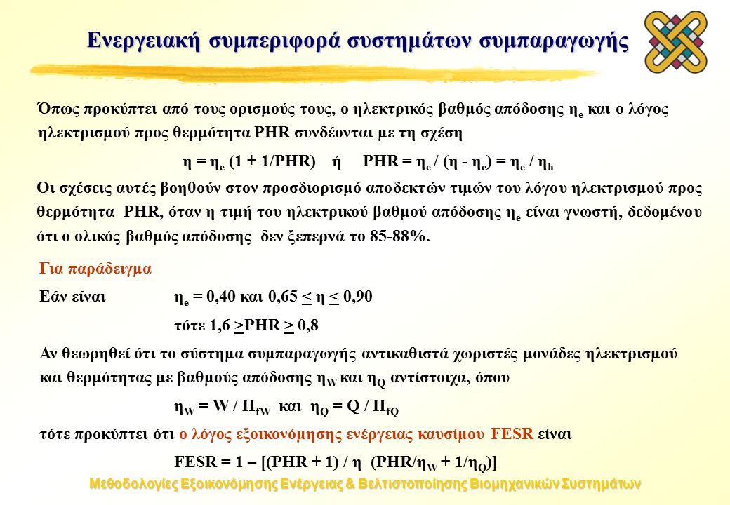 Μεθοδολογίες Εξοικονόμησης Ενέργειας & Βελτιστοποίησης Βιομηχανικών Συστημάτων Όπως προκύπτει από τους ορισμούς τους, ο ηλεκτρικός βαθμός απόδοσης η e και ο λόγος ηλεκτρισμού προς θερμότητα PHR συνδέονται με τη σχέση η = η e (1 + 1/PHR) ή PHR = η e / (η - η e ) = η e / η h Οι σχέσεις αυτές βοηθούν στον προσδιορισμό αποδεκτών τιμών του λόγου ηλεκτρισμού προς θερμότητα PHR, όταν η τιμή του ηλεκτρικού βαθμού απόδοσης η e είναι γνωστή, δεδομένου ότι ο ολικός βαθμός απόδοσης δεν ξεπερνά το 85-88%.