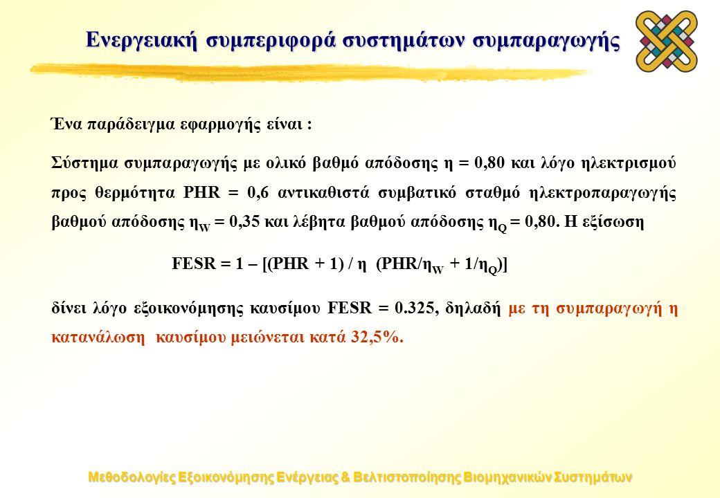 Μεθοδολογίες Εξοικονόμησης Ενέργειας & Βελτιστοποίησης Βιομηχανικών Συστημάτων Ένα παράδειγμα εφαρμογής είναι : Σύστημα συμπαραγωγής με ολικό βαθμό απόδοσης η = 0,80 και λόγο ηλεκτρισμού προς θερμότητα PHR = 0,6 αντικαθιστά συμβατικό σταθμό ηλεκτροπαραγωγής βαθμού απόδοσης η W = 0,35 και λέβητα βαθμού απόδοσης η Q = 0,80.