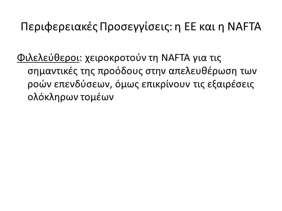 Περιφερειακές Προσεγγίσεις: η ΕΕ και η NAFTA Φιλελεύθεροι: χειροκροτούν τη NAFTA για τις σημαντικές της προόδους στην απελευθέρωση των ροών επενδύσεων, όμως επικρίνουν τις εξαιρέσεις ολόκληρων τομέων
