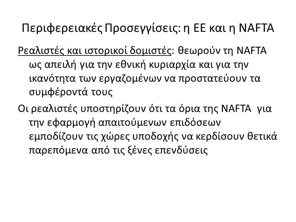 Περιφερειακές Προσεγγίσεις: η ΕΕ και η NAFTA Ρεαλιστές και ιστορικοί δομιστές: θεωρούν τη NAFTA ως απειλή για την εθνική κυριαρχία και για την ικανότητα των εργαζομένων να προστατεύουν τα συμφέροντά τους Οι ρεαλιστές υποστηρίζουν ότι τα όρια της NAFTA για την εφαρμογή απαιτούμενων επιδόσεων εμποδίζουν τις χώρες υποδοχής να κερδίσουν θετικά παρεπόμενα από τις ξένες επενδύσεις